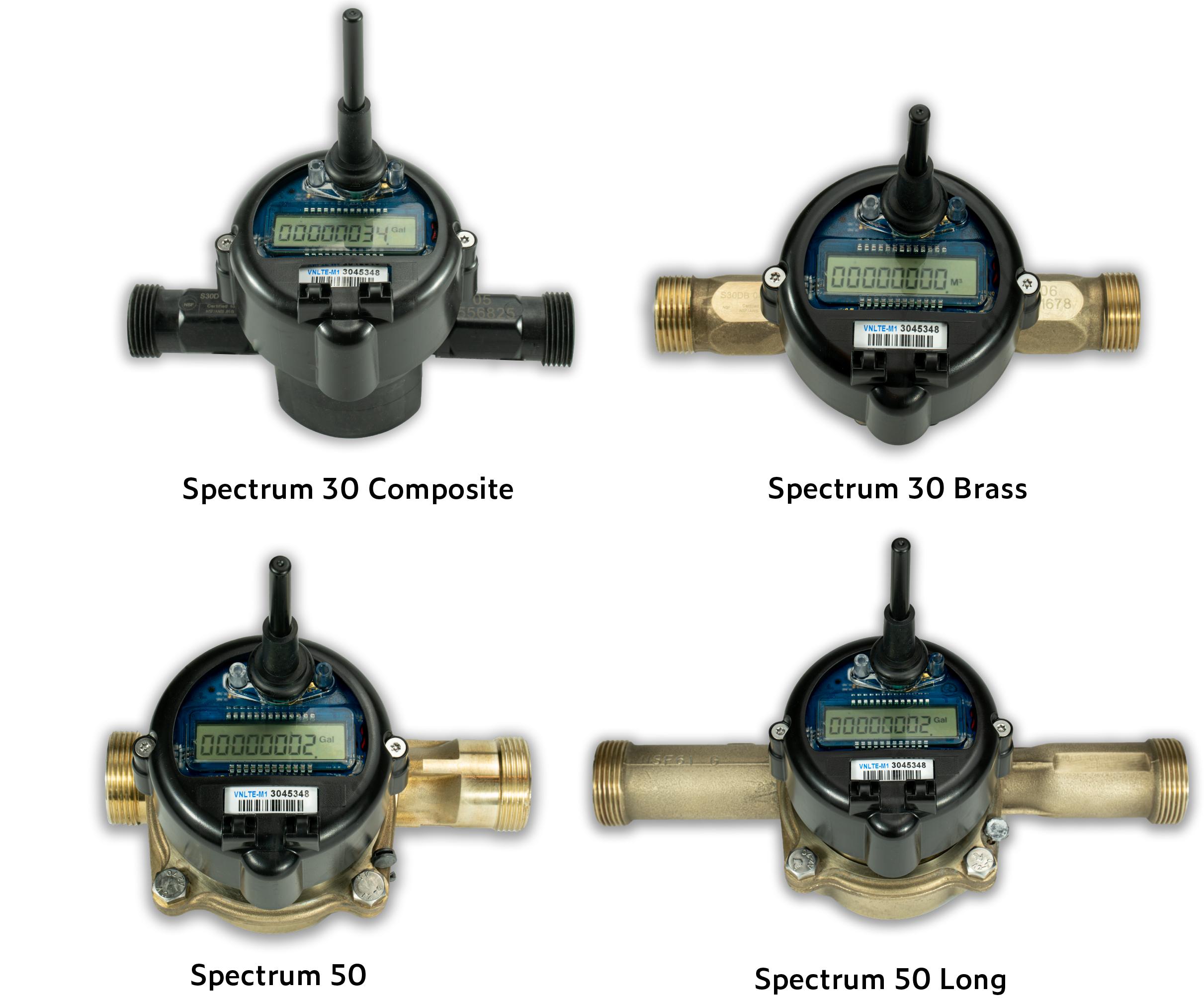 diagram of Spectrum Single Jet Water Meter Models